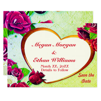 Colourful Roses & Heart Frame Save the Date Card