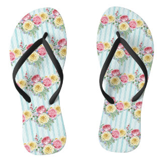 Colourful Roses Pattern Thongs