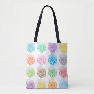 Colourful roses pattern tote bag