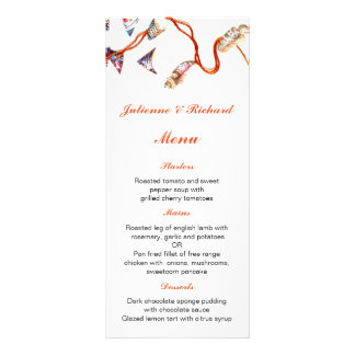 Colourful Seashells | Beach Wedding Menu Customised Rack Card
