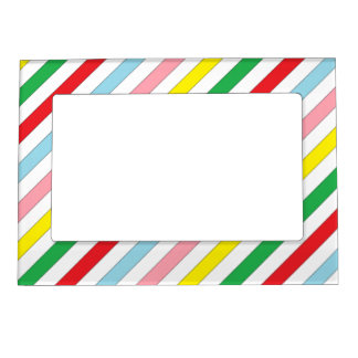 Colourful Sideway Lines postage stamps. Magnetic Photo Frames