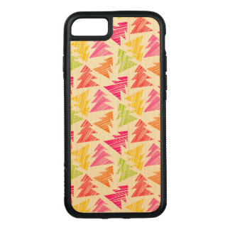 Colourful Sketchy Christmas Trees Pattern Carved iPhone 8/7 Case