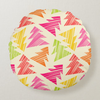 Colourful Sketchy Christmas Trees Pattern Round Cushion