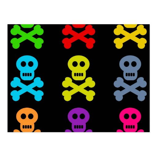 Colourful Skulls Post Card