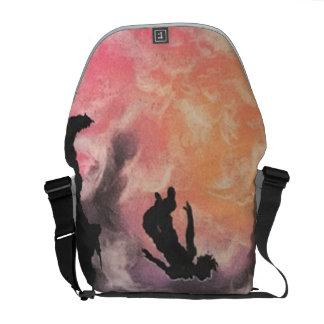 colourful sky dive courier bag