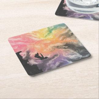 colourful sky dive square paper coaster