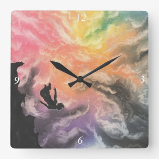 colourful sky dive square wall clock
