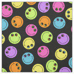 Colourful Smiley Faces on Black Fabric
