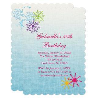 Colourful Snowflake  Birthday Invitation