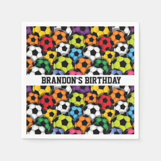 Colourful Soccer Balls Design Paper Napkins