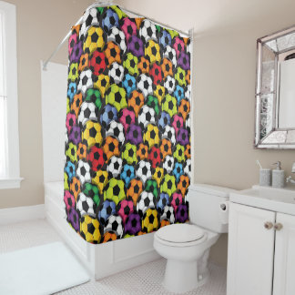 Colourful Soccer Balls Design Shower Curtain