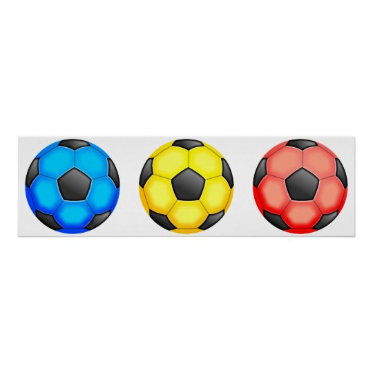 Colourful Soccer Balls Poster