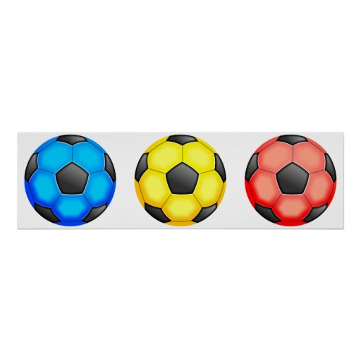 Colourful Soccer Balls Print