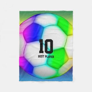 Colourful Soccer   Football Fleece Blanket