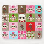 Colourful Sock Monkey Patchwork Mouse Pads