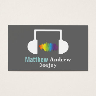 Colourful Sound Waves, Deejay, DJ Business Card