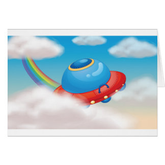 Colourful Spaceship Greeting Cards