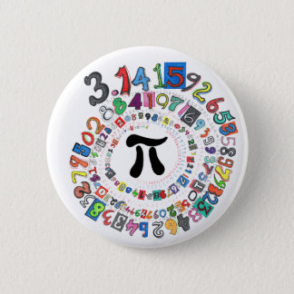 Colourful sPiral of Pi Calculated 6 Cm Round Badge