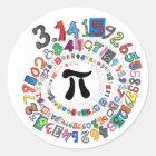 Colourful sPiral of Pi Calculated Classic Round Sticker