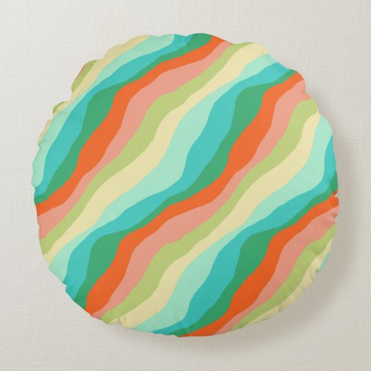 Colourful Spring Abstract Pattern Round Cushion