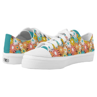 Colourful spring daisies printed shoes