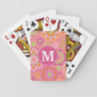 Colourful Spring Floral Pattern Custom Monogram Playing Cards