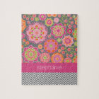Colourful Spring Floral Pattern Custom Name Jigsaw Puzzle