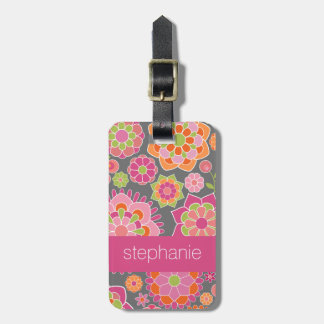 Colourful Spring Floral Pattern Custom Name Luggage Tag