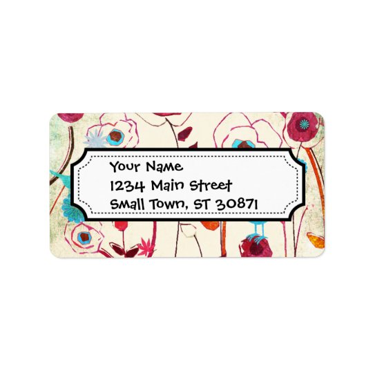 Colourful Spring Flowers Birds Mulberry Blue Address Label