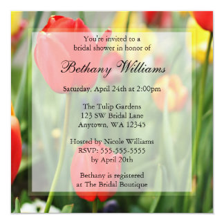 Colourful Spring Tulips Bridal Shower 13 Cm X 13 Cm Square Invitation Card