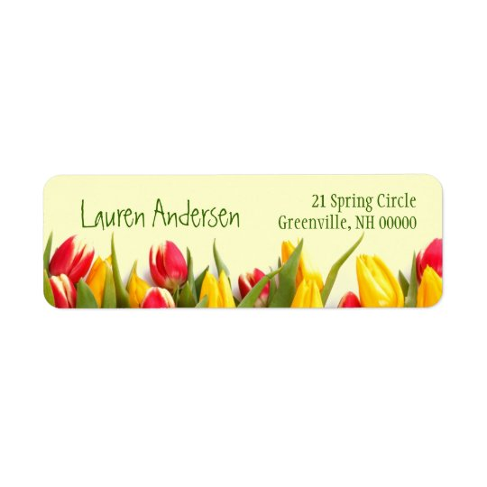 Colourful Spring Tulips Floral Personal Address Return Address Label