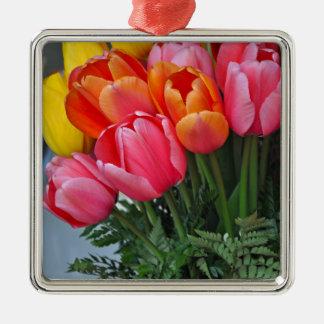 Colourful spring tulips Silver-Colored square decoration