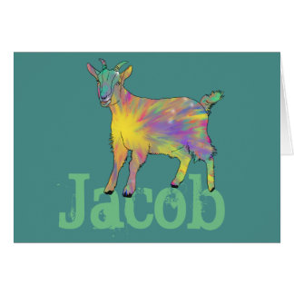 Colourful Starburst Art Goat Design with Your Name Card