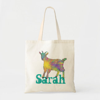 Colourful Starburst Art Goat Design with Your Name Tote Bag