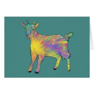Colourful Starburst Art Goat Funny Animal design Card