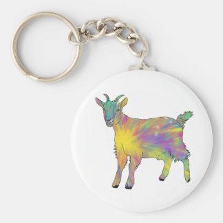 Colourful Starburst Art Goat Funny Animal design Key Ring