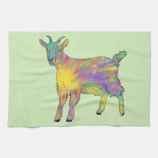 Colourful Starburst Art Goat Funny Animal design Tea Towel