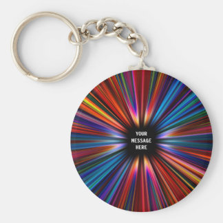 Colourful starburst explosion basic round button key ring
