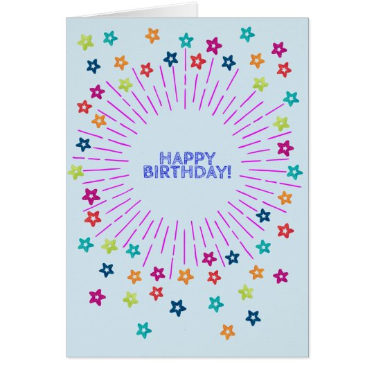 Colourful stars in the sky Happy Birthday Card