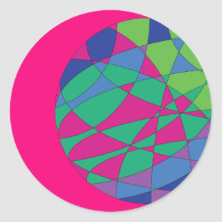 Colourful Stickers Round Magenta Colours Art