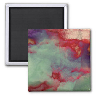 Colourful stormy clouds abstract brush stroke art square magnet