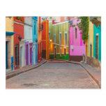 Colourful street scene postcard