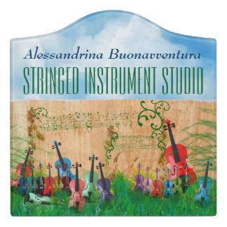Colourful Stringed Instruments Garden Customisable Door Sign