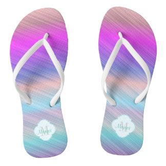 Colourful stripe beach thongs
