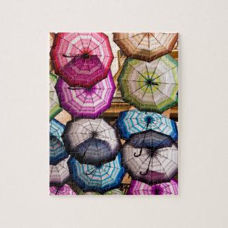 Colourful, Striped Umbrellas Jigsaw Puzzle