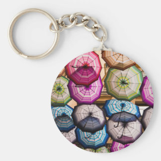 Colourful, Striped Umbrellas Key Ring
