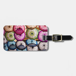 Colourful, Striped Umbrellas Luggage Tag