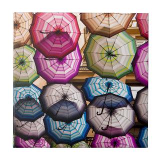 Colourful, Striped Umbrellas Tile