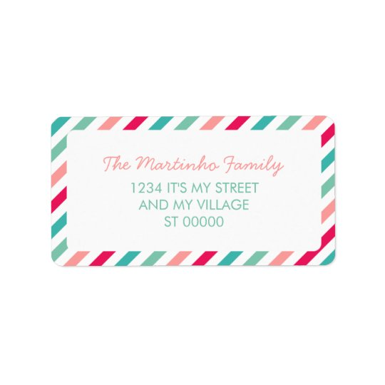 Colourful Stripes Aqua Blue Pink Diagonal Stripes Address Label