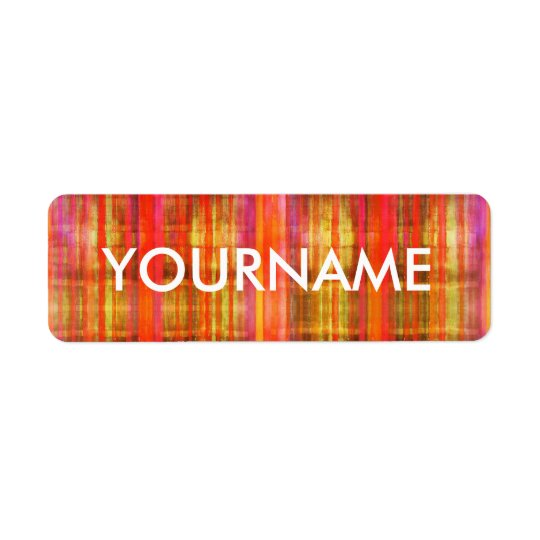 Colourful Stripes Art Pattern Name Label